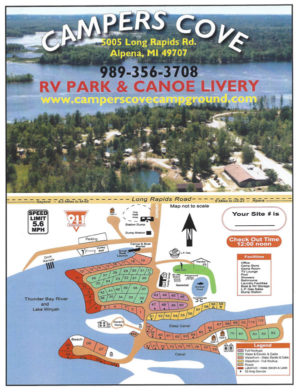 Campers Cove Campground - Site map 2018