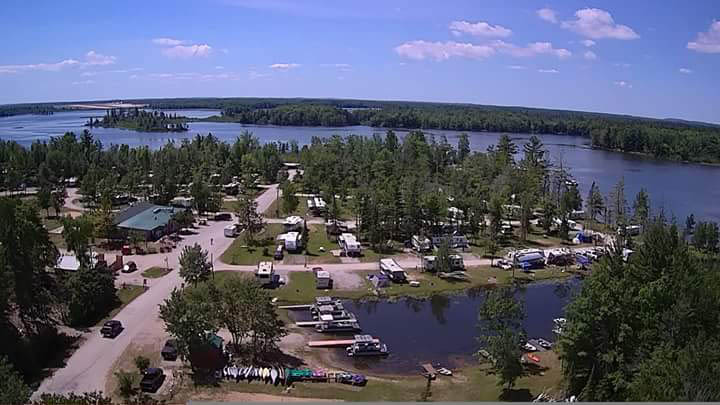 campers cove campground drone shot